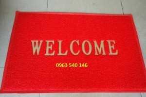 Thảm chùi chân welcome màu đỏ
