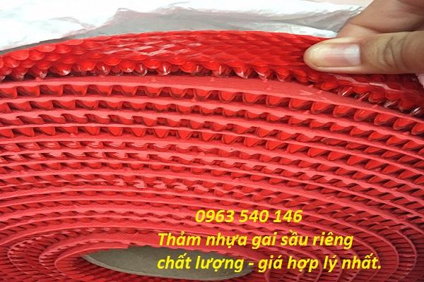 Kích thước cuộn thảm gai sầu riêng : 0,9m x 15m và 1,2m x 15m.