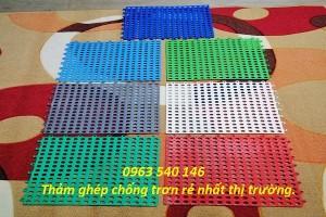 Tấm thảm nhựa ghép chống trơn lỗ tròn
