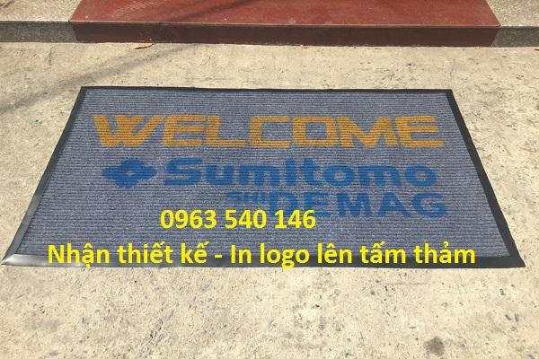 Thảm Hoàng Yến nhận in logo thương hiệu trên tấm thảm.