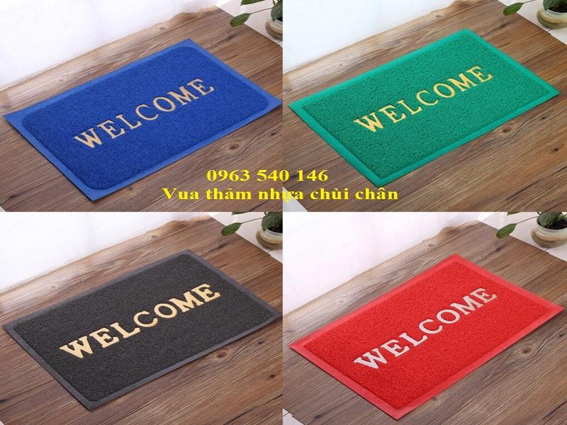 thảm lau chân nhựa rối welcom, màu sắc đa dạng, kích thước phong phú.