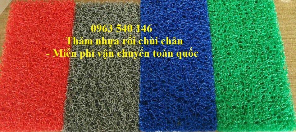 Thảm chùi chân nhựa sợi rối chất liệu như thảm welcom. Kích thước 1,2m x 18m ( Xanh lá, xanh dương, đỏ, ghi xám ) đáp ứng được tất cả các không gian từ nhở đến lớn.