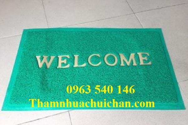 Thảm nhựa chùi chân welcome màu xanh lá đẹp , chất lượng tốt.