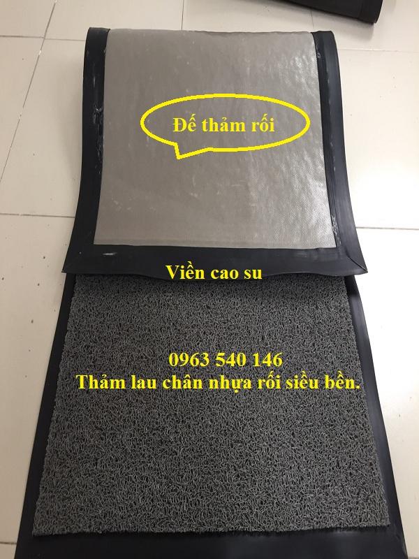 Thảm nhựa dạng cao su rối màu ghi  àm theo kích thươc yêu cầu.