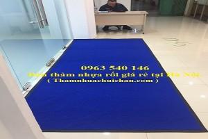 Thảm nhựa cao su rối màu xanh dương.