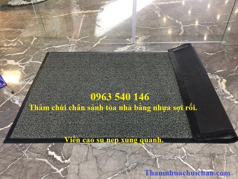 Thảm lau chùi chân bằng sợi nhựa rối siều bền, chùi bụi bẩn siêu tốt.