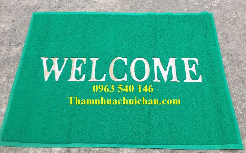 Thảm chùi chân welcom màu xánh lá rất bền, bán giá rẻ nhất tại Hà Nội.